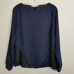 LOFT Women's Long Sleeve Blouse with Lace Detail